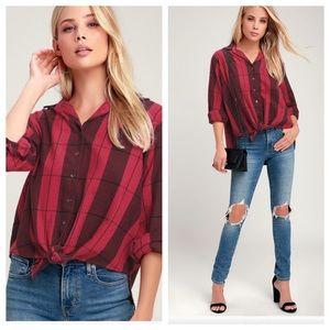 Billabong Tie Front Flannel Plaid Button Up Shirt